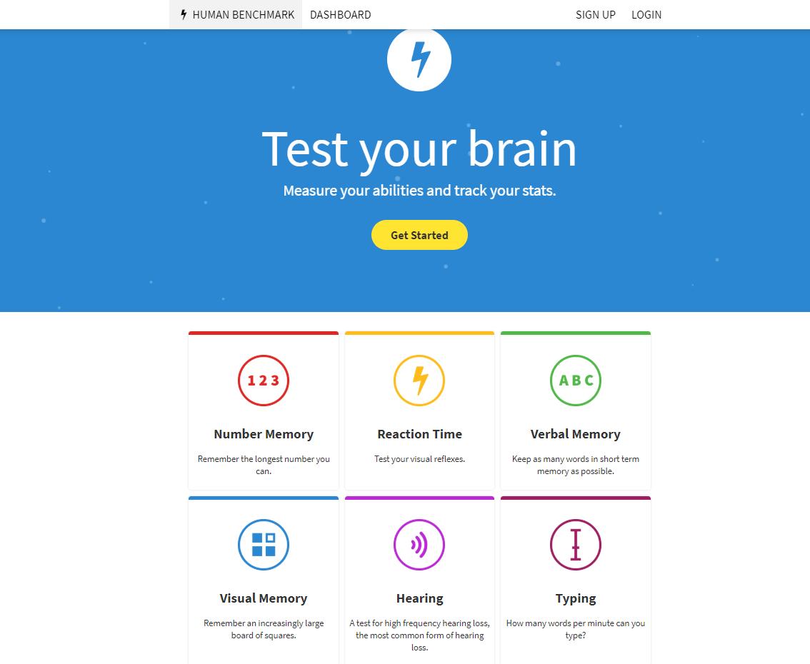 HumanBenchmark.com - Interesting Visual, Audio, Reaction and Memory Tests