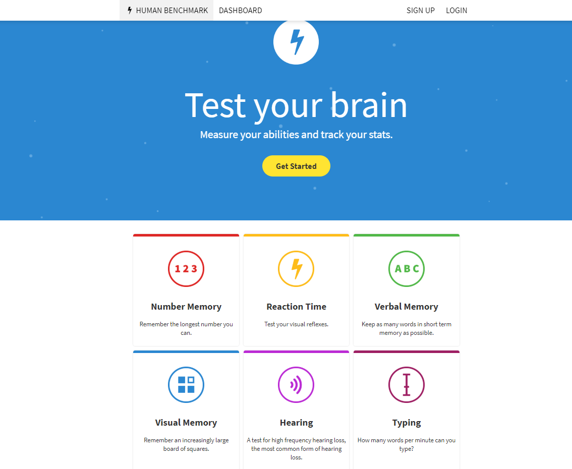 HumanBenchmark.com - Interesting Visual, Audio, Reaction and Memory Tests